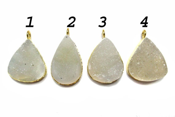 24 kt Gold Plated Druzy Pendants  1 piece of fine by finegemstone, $13.00