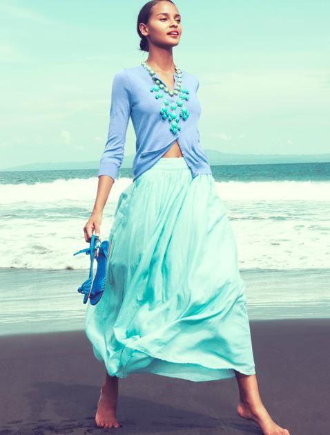 soft blue & ruffles: Colors Combos, Fashion, Style, J Crew, Colors Combinations, Bubbles Necklaces, Jcrew, The Sea, Maxi Skirts