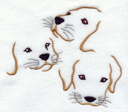 This listing is for a group of 6 machine embroidered quilt blocks with a TRIO of PUPPY FACES on each block. These cute lab like puppy faces are stitched onto prewashed, white cotton quilt fabric with