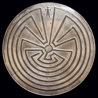 "Hopi Silver Dish c.1940  Silver dish with ""Man in the Maze"" design"