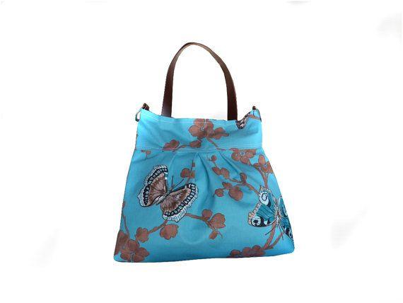 Crossbody TOTE bag  pleated canvas butterfly powder by dawnaparis, €45.00