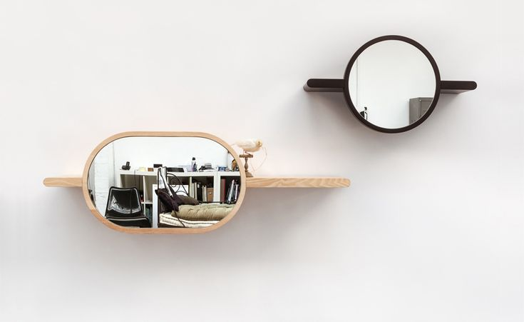 Mirettes / Oxyo by Studio Guillaume Delvigne is a collection of 3 mirror shelves, made in lacquered or natural solid wood and mirror