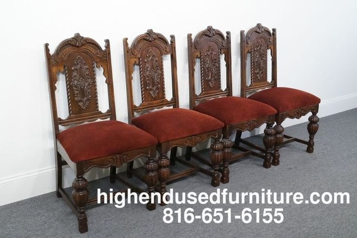 4 Antique Gothic Revival Jacobean Tudor Style Dining
