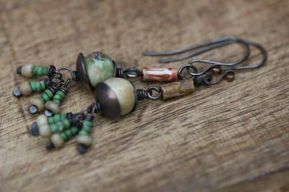 Sale The Discreet Ones Series earrings n76 - Ceramic  Glass . Earthy Rustic . Everyday . Cylinder . Green Lovers . Light Weigth Organic