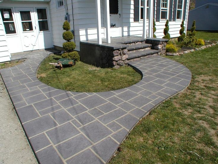 Good Exterior Designs,Enticing Cost Of A Patio Ideas With Concrete Dark Gray  Patio Paver Colored And Beautiful Green Grass Also Enchanting White House  Design ...