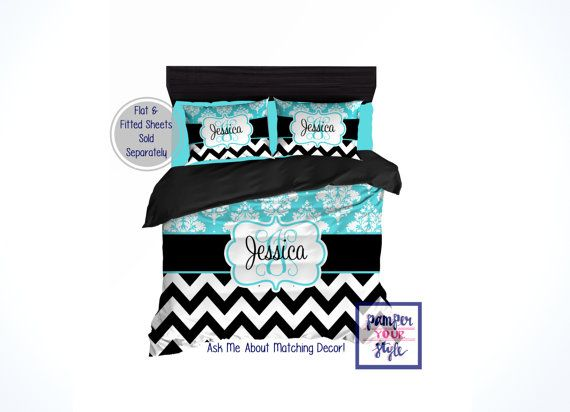 Custom Designed and Personalized Chevron and Damask Bedding