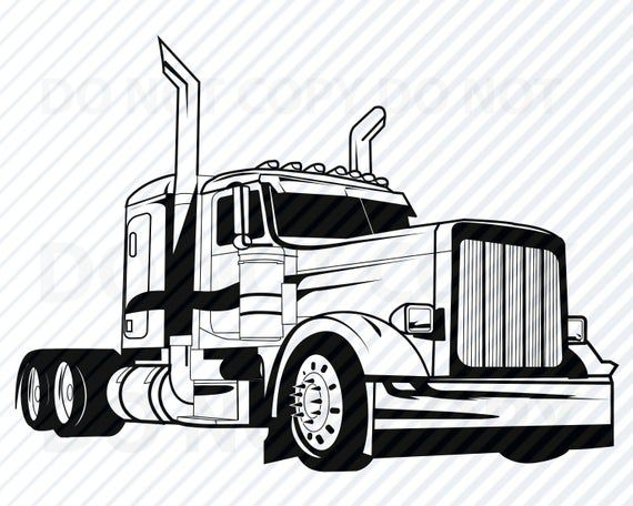 Semi Camion Svg Archivos Para Cricut Vector Images Silhouette Mack Truck Clipart Semi Truck Cab Clip Art Eps Truck Png Dxf Logotipo Del Conductor Del Camion In 2020 Trucks Semi