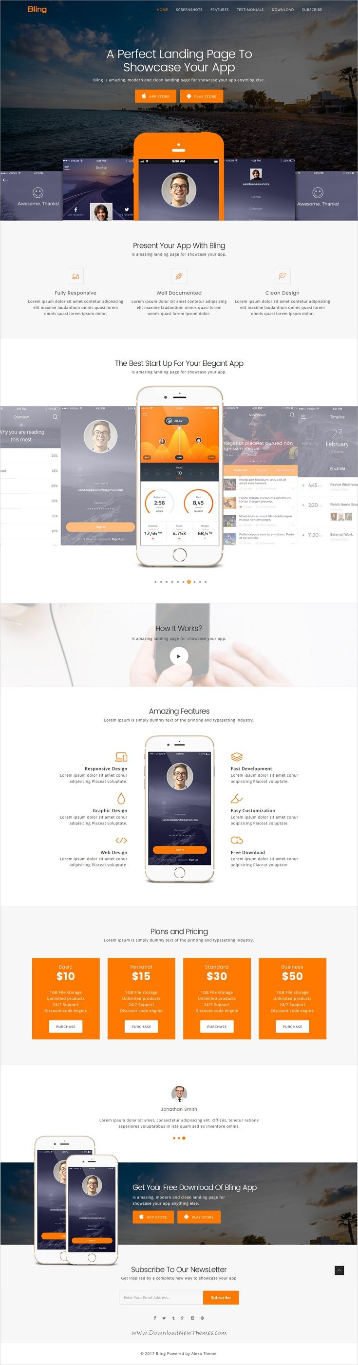 Bling is clean and modern design 4in1 responsive #HTML template for #app #landing page website download now > https://themeforest.net/item/bling-responsive-app-landing-page-template/19897891?ref=Datasata