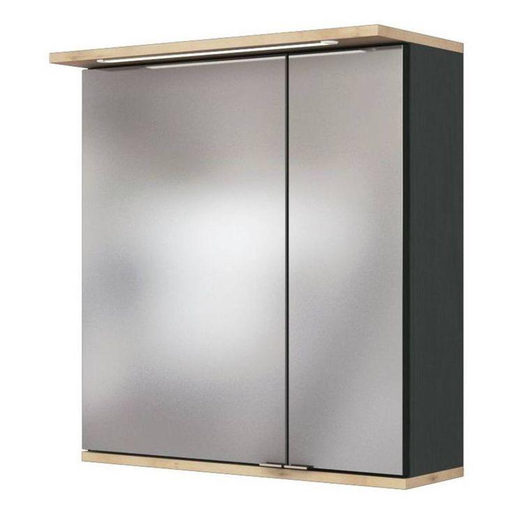Badezimmer Spiegelschrank 60cm Mit Led Und Beleuchtung Im Unterboden Lathi 03 Graphit Mit Buche B X H X T Badezimmer Spiegelschrank Spiegelschrank Badezimmer