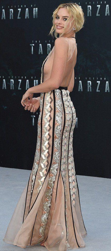 "Margot Robbie in Miu Miu attends the London premiere of ""The Legend Of Tarzan""."