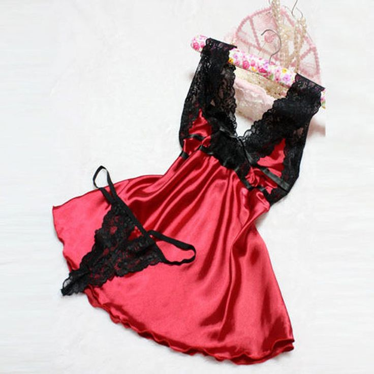 Sexy Lingerie Women Nightwear Underwear Babydoll Sleepwear Lace Dress + G-string