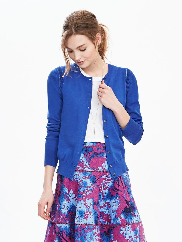 Royal blue cardigan - goes with gold shorts, black and white top, khaki pants - $54