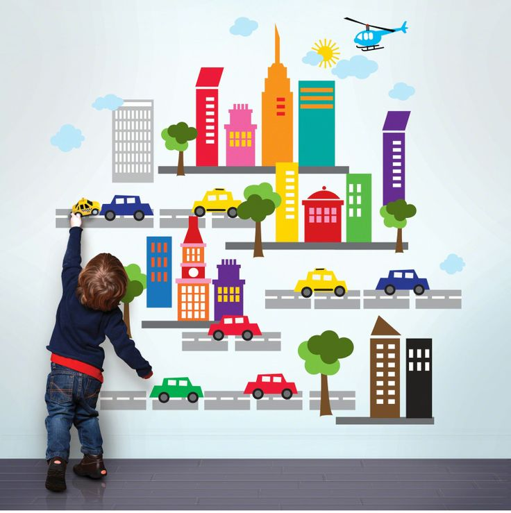 Beep beep! Add instant energy to your nursery, playroom, or classroom walls with a booming peel and stick city.