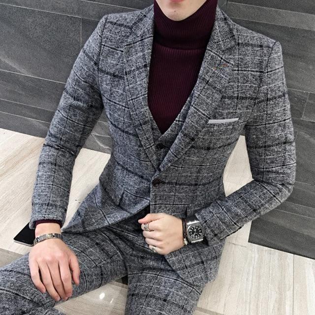 3 piece tweed suit men plaid blazer khaki grey blue black. Black Bedroom Furniture Sets. Home Design Ideas