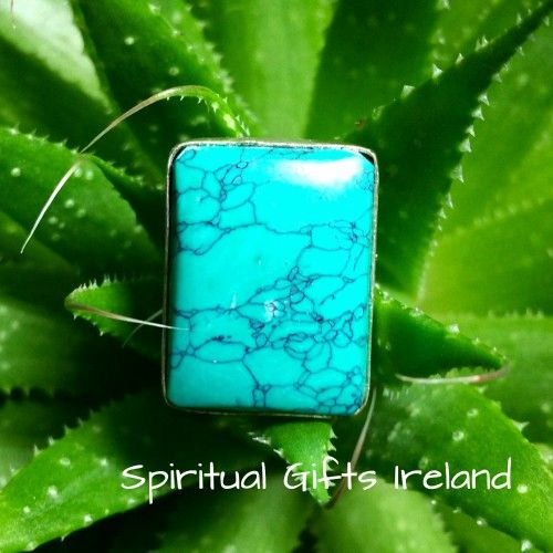 Turquoise Ring Visit our store at www.spiritualgiftsireland.com  Follow Spiritual Gifts Ireland on www.facebook.com/spiritualgiftsireland www.instagram.com/spiritualgiftsireland www.etsy.com/shop/spiritualgiftireland	 We are also featured on Tumblr  Turquoise and Silver are a match made in heaven, renowned for its spiritual powers as well as its beauty.  It's one of the oldest stones used in jewellery making, dating back to well before 5000 BC, often called the sky stone after its colour…