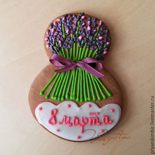 """Купить Имбирный пряник """"Букет лаванды"""" к 8 марта - имбирный пряник, имбирный, имбирное печень"""