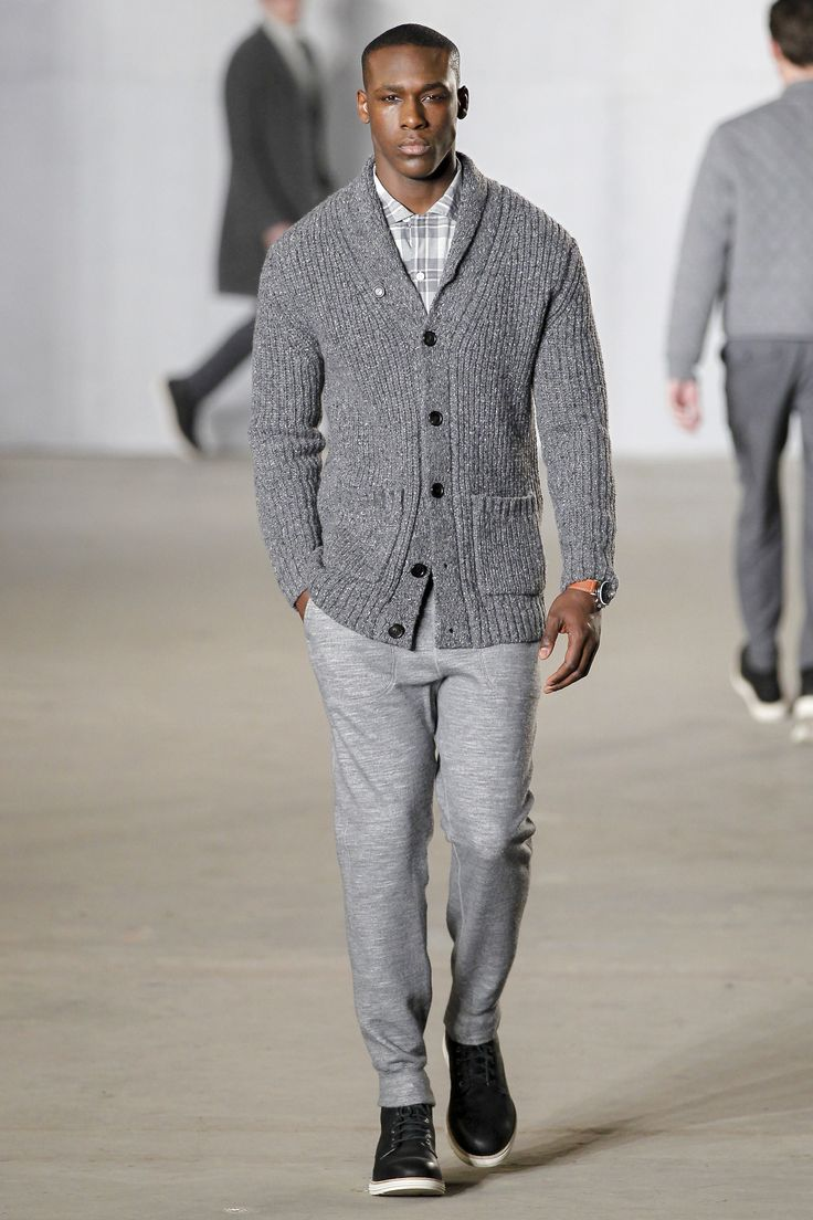 Todd Snyder Fall 2016 Menswear Fashion Show. I'm a sucker for a good shawl-collared cardigan, and this one comes in a perfect gray.