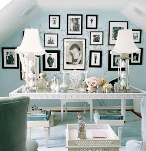 Tiffany blue walls vintage black and white photo art and white shabby chic decor: Idea, Frames, Offices Spaces, Blue Wall, Wall Color, Tiffany Blue, Desks, Wallcolor, Home Offices