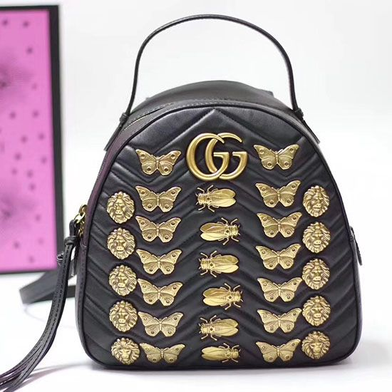 46912995e98a52 Gucci GG Marmont Animal Studs Leather Backpack 476671 | Gucci ...