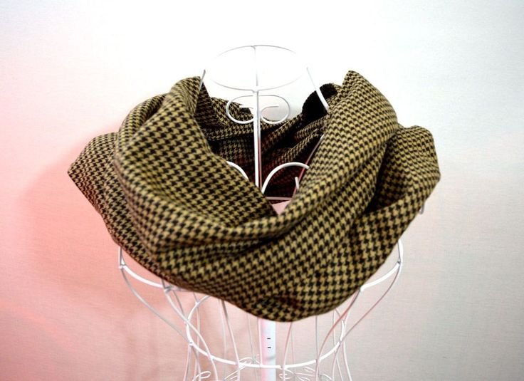 Large Brown and Yellow Pepita Houndstooth Infinity Scarf 3 m Long Double Layer #E #Scarf