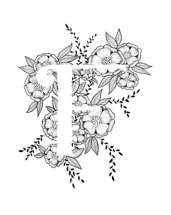 Art print van letter F met florale achtergrond. Geweldig cadeau! Message me voor aanpassingen of in opdracht van de stukken. Zwart-wit inkt, meer letters van het alfabet binnenkort.