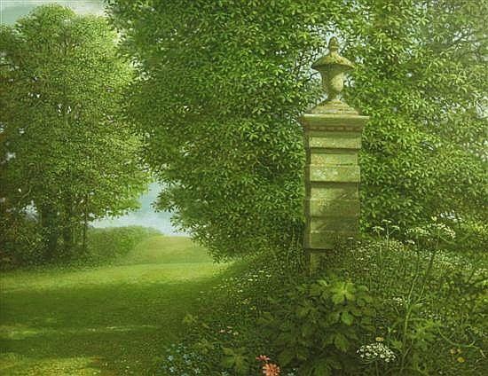 On The Edge of a Park (1991) by John Shelley, oil on canvas 16 x 20in.