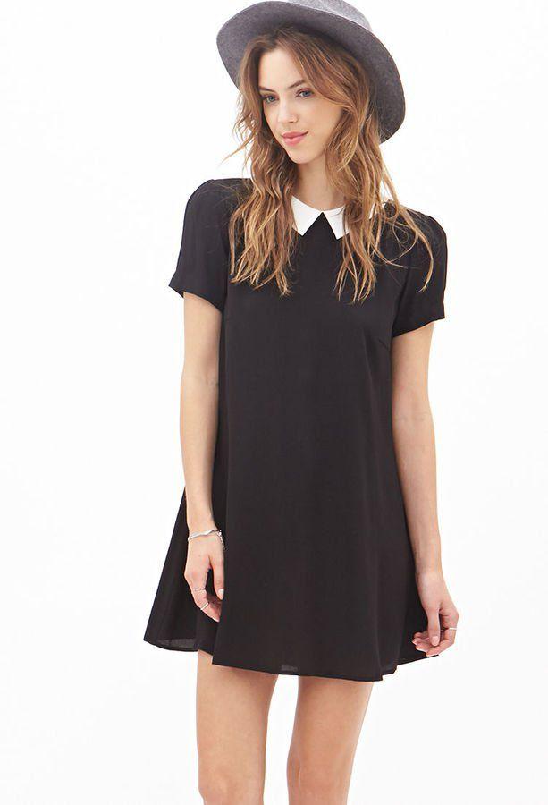 Pin for Later: Auf die Einkaufsliste: 17 früh-herbstliche Kleider Forever 21 Kleid mit Kragen Forever 21 Kleid mit Bubi-Kragen in Kontrastfarben (20,95€)