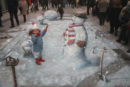 Amazing chalk art. Julian Beever is phenomenal.
