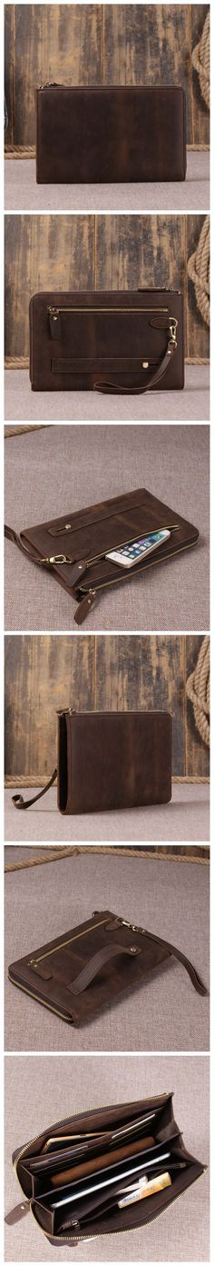<b>Genuine</b> Leather Clutch, iPad Bag, Wristlet Bag, <b>Men Wallet</b> 9073 ...