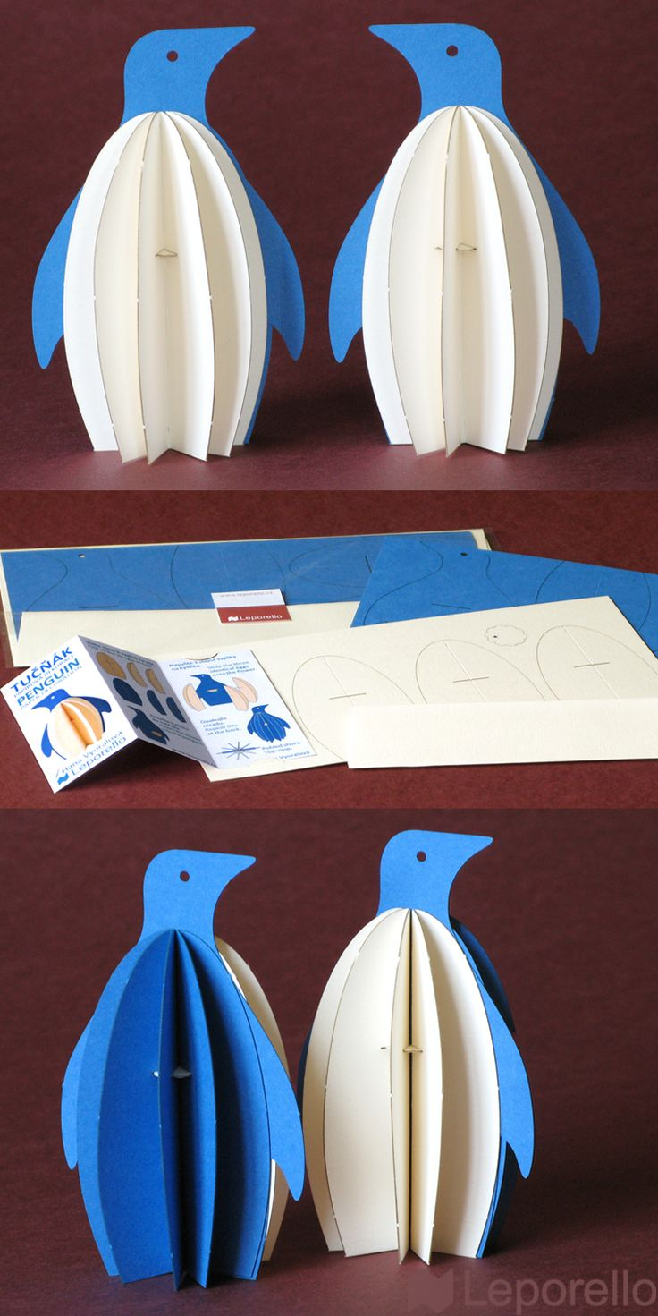 penguin greeting cards - paper folding decoration