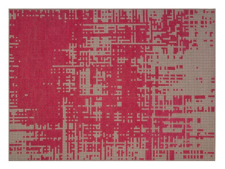Download the catalogue and request prices of Red abstract | rug by Gan By Gandia Blasco, rectangular wool rug design Charlotte Lancelot, Canevas Spaces collection