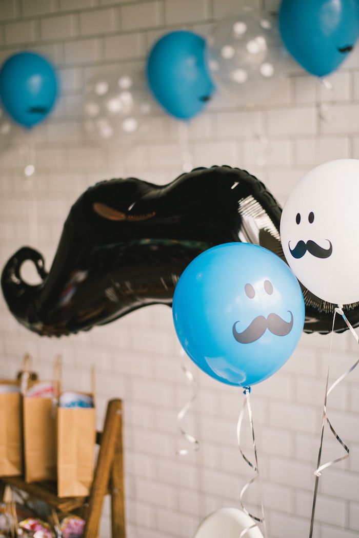 Mustache man balloons from a Modern Little Man Birthday Party on Kara's Party Ideas | KarasPartyIdeas.com (22)