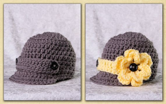 Baby Girl Hat or Baby Boy Hat Gender Neutral Newsboy Hat WITH 2 flowers and 2 bands Infant Hat Newborn Coming Home Outfit Handmade Baby Gift