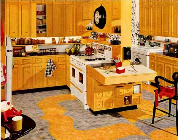 yellow retro kitchens - photo #24