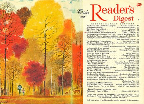 """Reader's Digest front and back cover, October 1966  Illustration: """"October Glory"""" by Frank Lacano  Check out some artwork by Lacano and some biographical info on him at Today's Inspiration."""