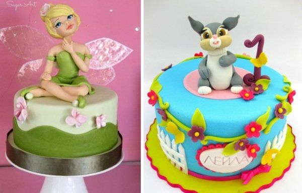 idées-gâteau-anniversaire-original-Fée-Clochette-lapin-Bambi-Disney