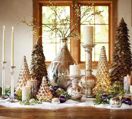 idea for my bay window silver mercury glass trees pottery barn - Mercury Glass Christmas Trees