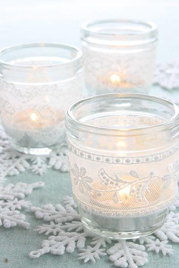 lace candle holder idea