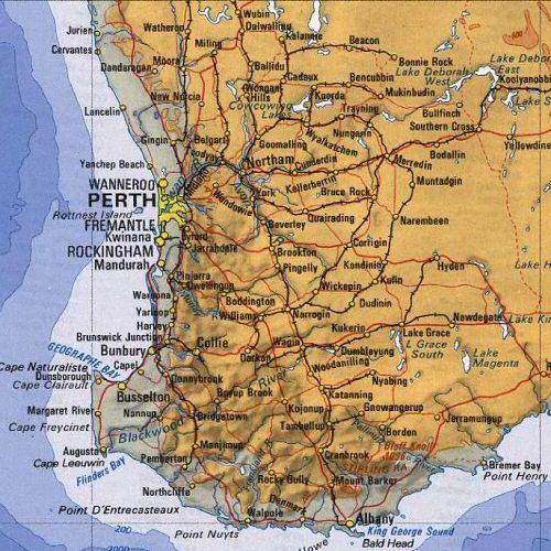 Fremantle - Subiaco - Perth - Margaret River - Broome  (1998)   Google Image Result for http://www.auinfo.com/australia-pictures/map/Perth_Region_map.jpg