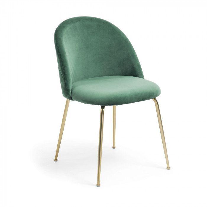 Chair Upholstered In Velvet Fabric Gold Metal Legs Stoelen Voor De Eettafel Eetkamerstoelen Metalen Eetkamerstoelen