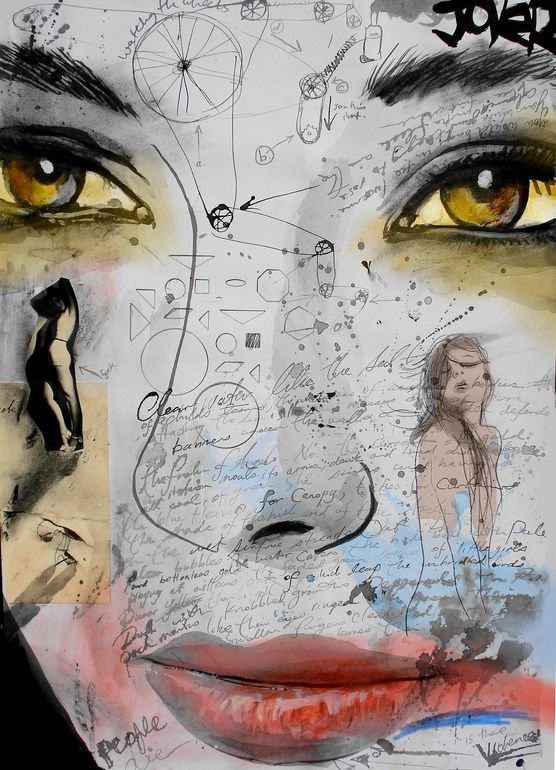 "Beautiful work by Loui Jover Saatchi Online Artist: Loui Jover; Assemblage / Collage, Mixed Media ""mind mechanics"""