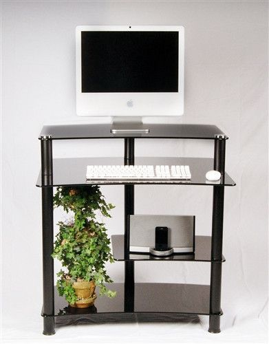 "Compact 32"" Black Glass Computer Desk"