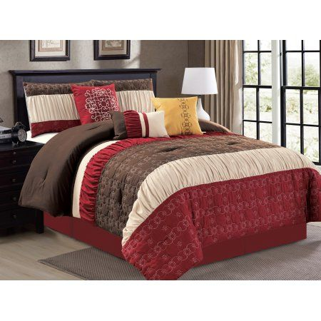Buy 7-Pc Quilted Floral Damask Scroll Ruffled Comforter Set Burgundy Brown Beige Queen at Walmart.com