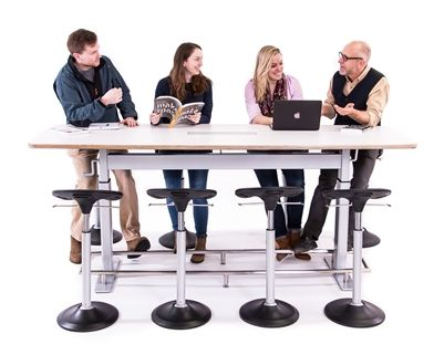 Confluence 8 is a height adjustable conference table designed by Focal Upright. Confluence 8 makes it easier than ever to run a standing meeting or scrum meeting.