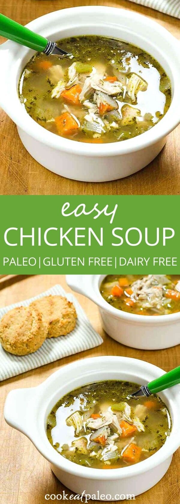 Easy chicken soup recipe made with rotisserie chicken. A great quick alternative to slow cooked chicken soup. Gluten free, dairy free, paleo... via @cookeatpaleo