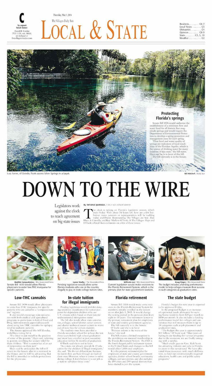 #newsdesign Villages Daily Sun Newspaper,  designed by Grace Stamper.