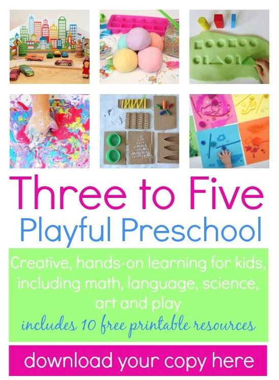 Play and games for kids:: Three to Five Playful Preschool eBook. 25+ ideas, additional links to over 50+ activities. Great resource for parents.