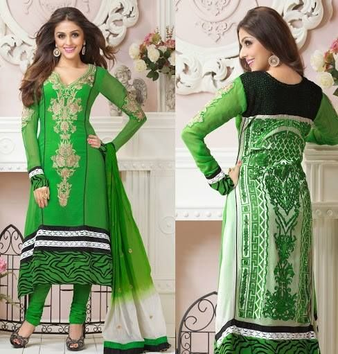 Georgette Green Salwar Suit with Yock Resham Embroidery work with Stone and patch patta Work