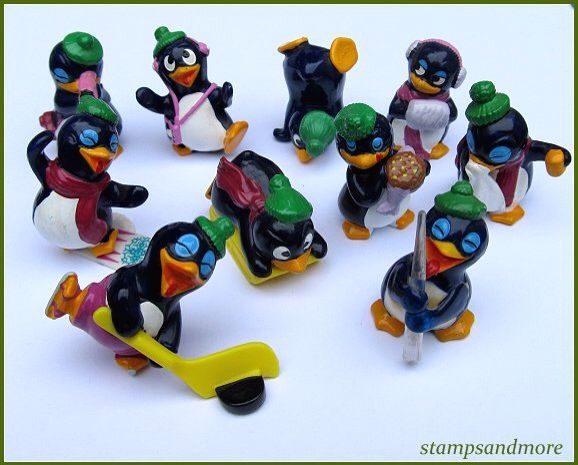 Kinder Surprise toy sets - They used to be decent solid little toys! From this set I only had the penguin on on the sledge (middle).