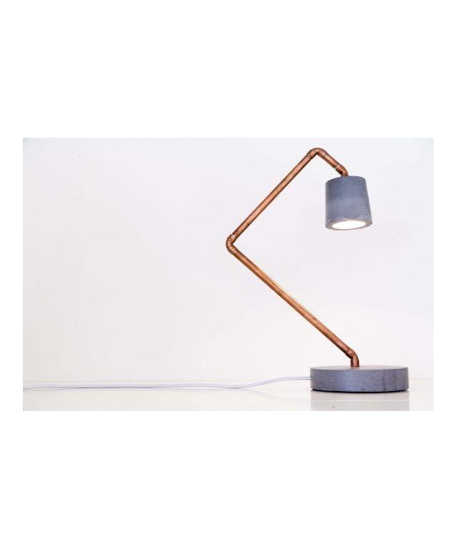 Seenlight Model 4 desk lamp designed by Seenlight made in Netherlands as part of Lighting and Table Lights tagged Concrete lighting and Copper Bedroom Accessories and Copper Bedroom decor and Copper Home Accessories and Cool contemporary homewares - image 4 on CROWDYHOSUE